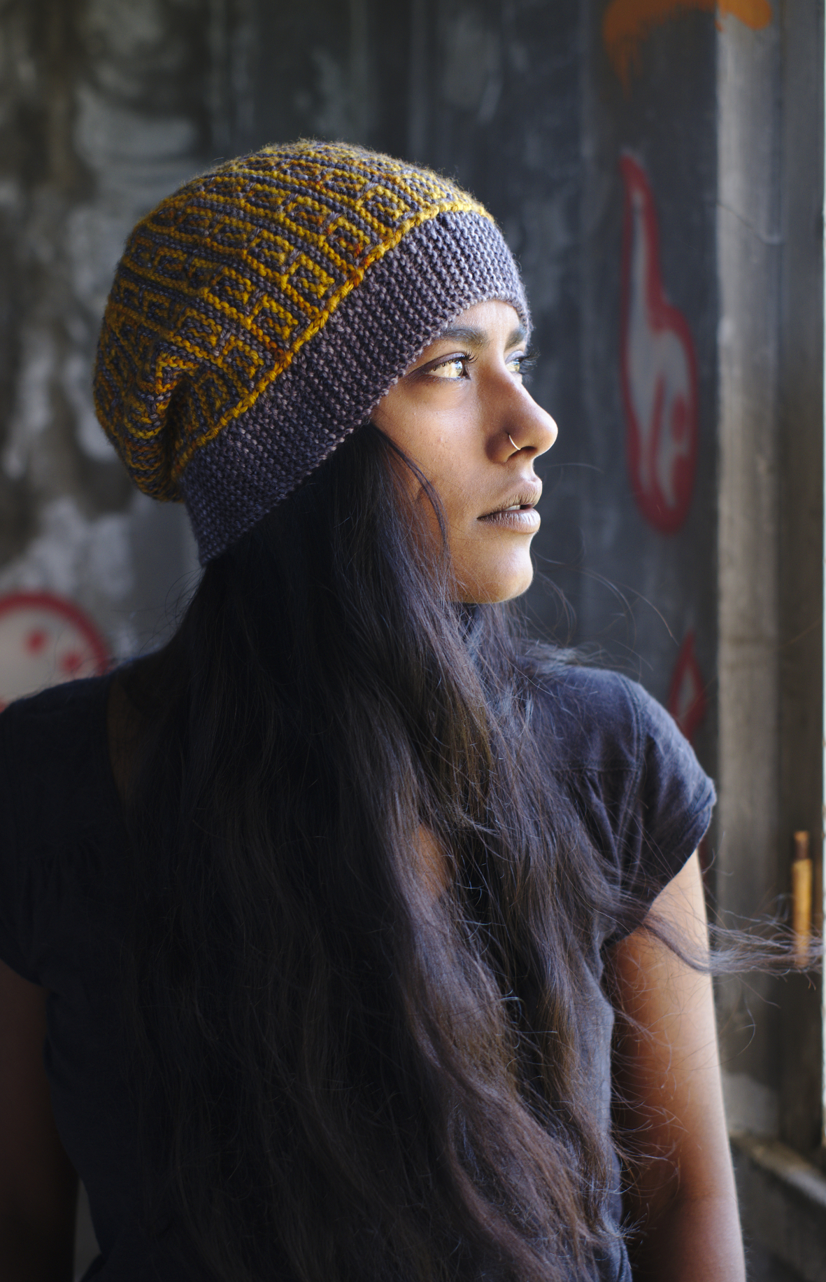 Revolutions sideways knit mosaic slipped stitch colourwork Hat hand knitting pattern for DK yarn