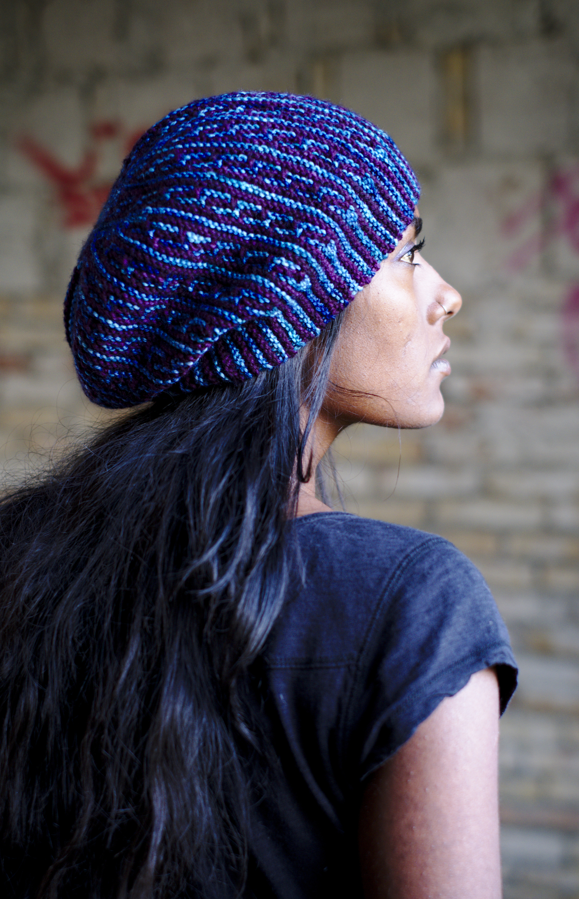 High Rise sideways knit mosaic slipped stitch colourwork Hat hand knitting pattern for DK yarn