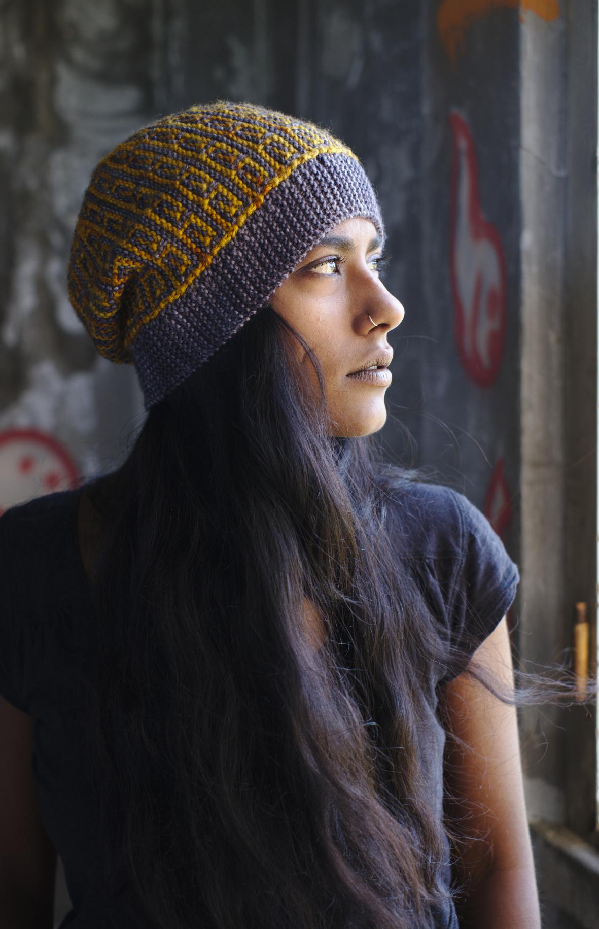 Revolutions sideways knit mosaic slipped stitch colourwork Hat hand knitting pattern for DK yarn