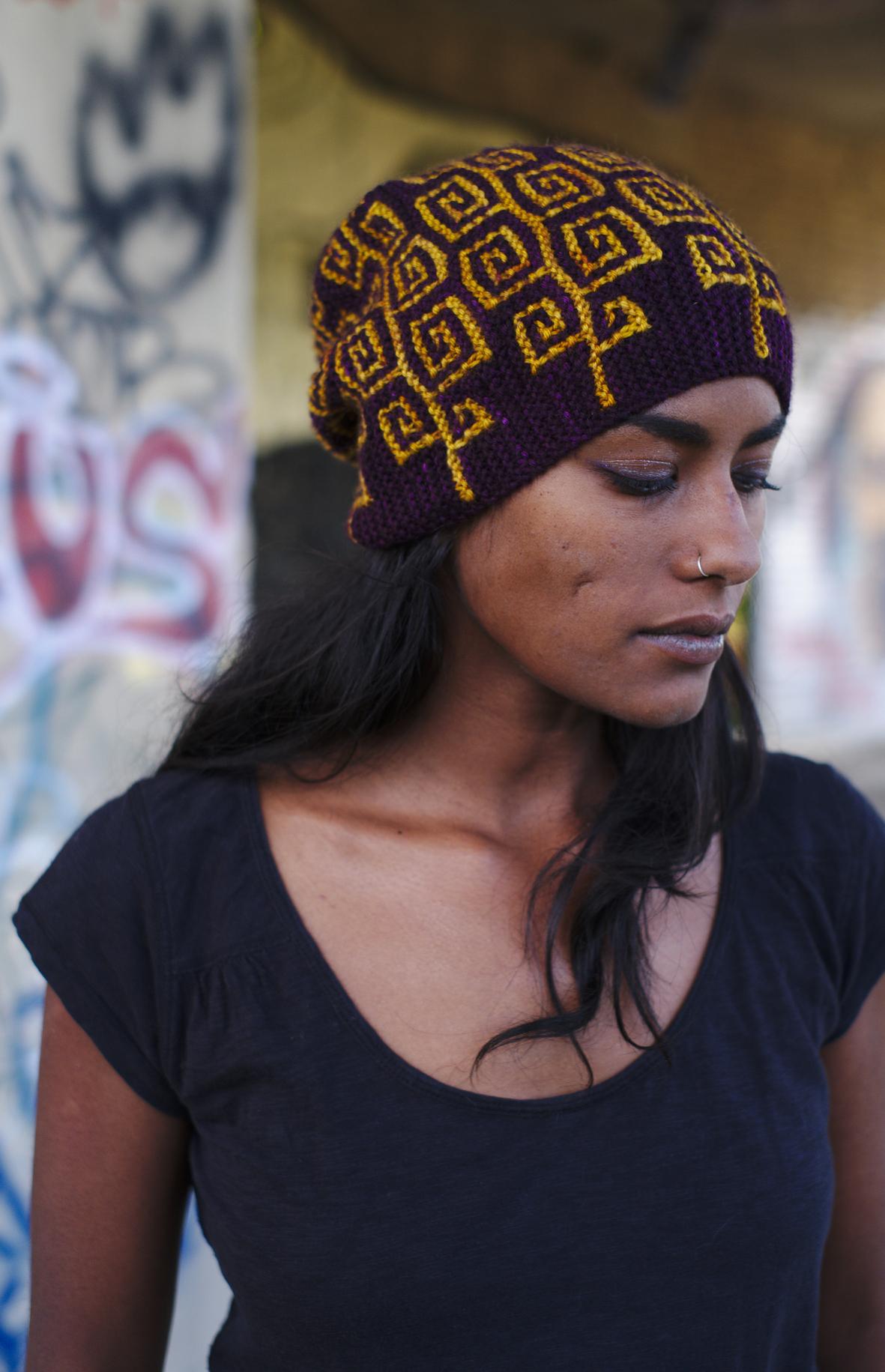 Uprising sideways knit mosaic slipped stitch colourwork Hat hand knitting pattern for DK yarn