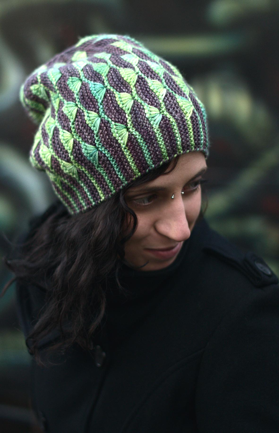 Diponaea sideways knit dip stitch colourwork Hat hand knitting pattern for DK yarn