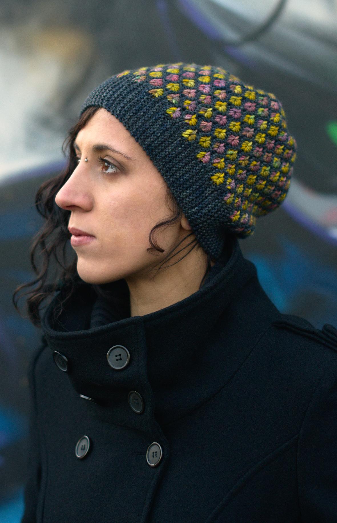 Klastar sideways knit cluster and slipped stitch colourwork Hat hand knitting pattern for DK yarn
