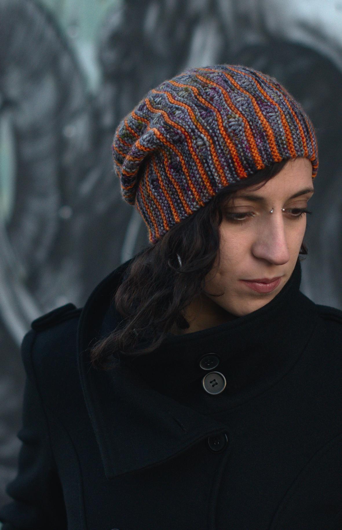 Laminard sideways knit stripe and drop stitch colourwork Hat hand knitting pattern for DK yarn