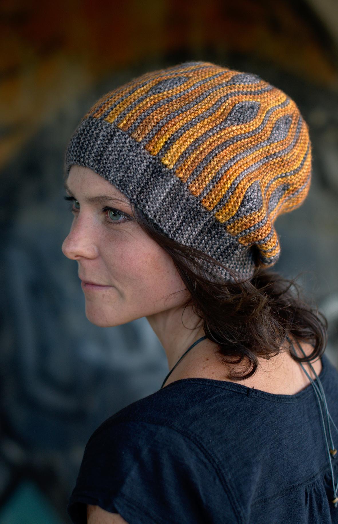 Korra sideways knit short row colourwork slouchy Hat pattern