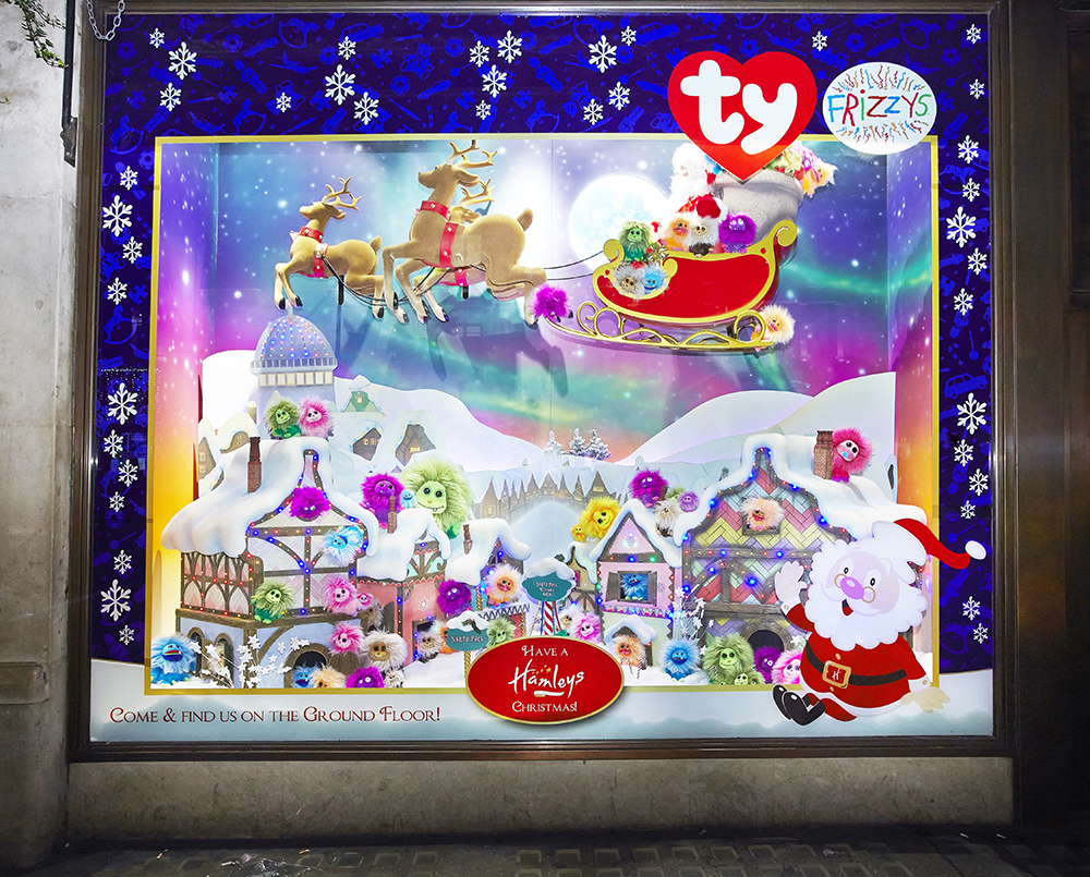 Propability, Creative Design, Hamleys of London, Window Display, Christmas Windows 2014, Animation, Props, Sculpts, Santa, Reindeer, North Pole, TY, Peppa Pig, Frizzys, VM and Retail Design, 24