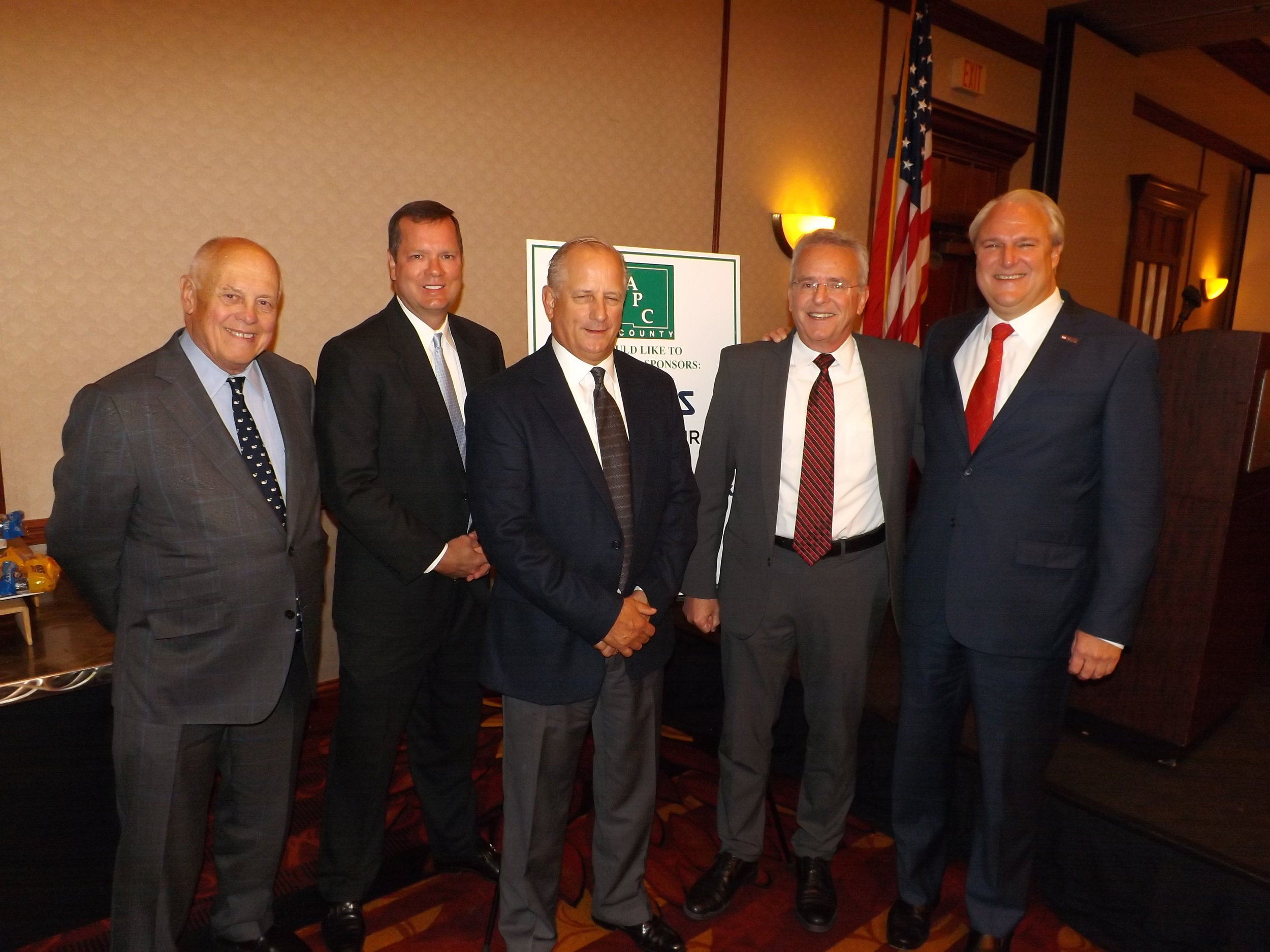 Pictured from L to R Mike Schueler, Schueler Group of Companies; Commissioner Dave Young, Steve Roat, President - Area Progress Council; Ron Lipps, ADVICS Manufacturing and Mike Prescott, US Bank