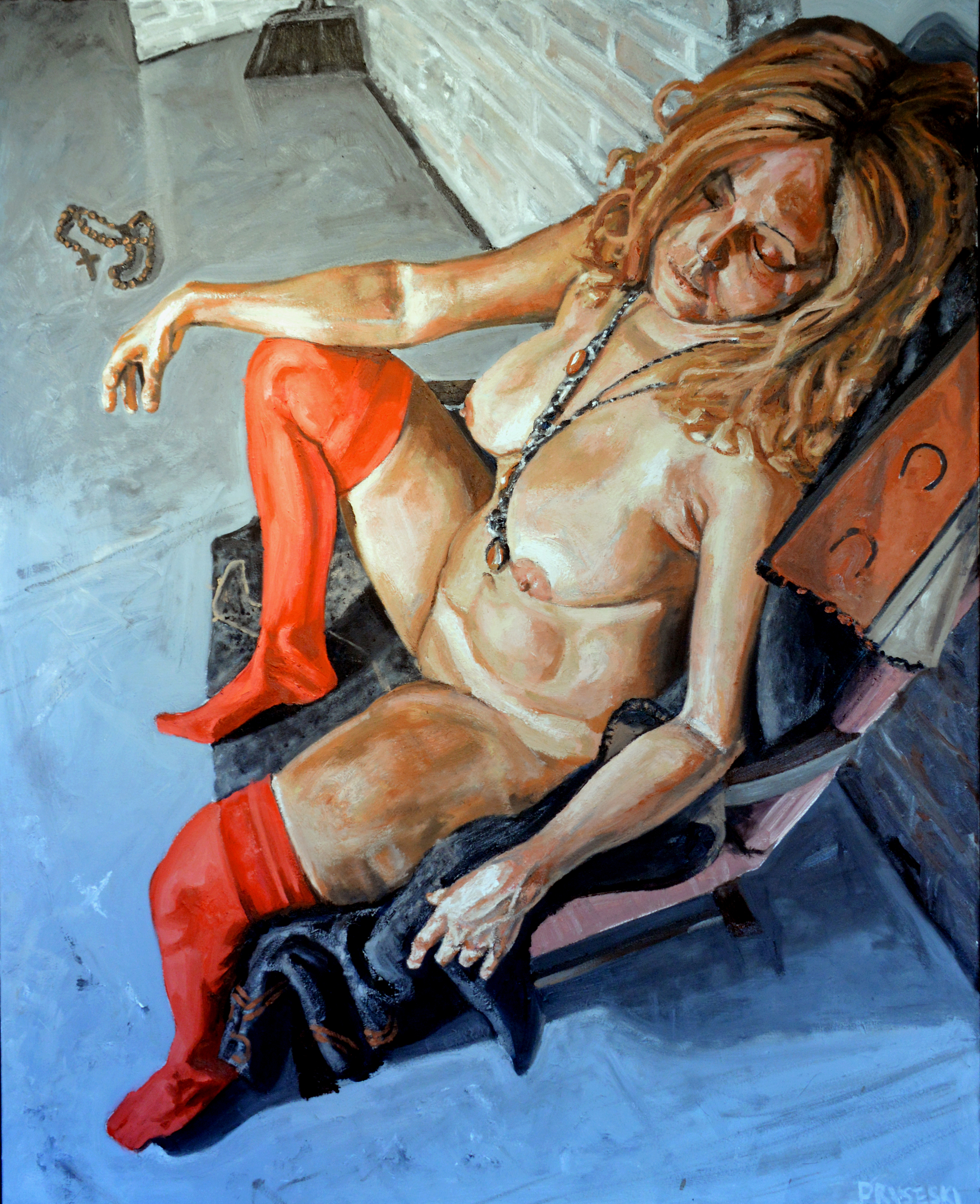 Girl with Red Stockings