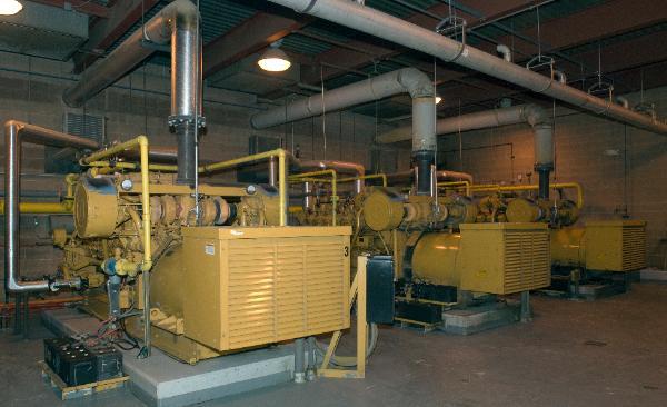 Three 3516 Landfill Gas Engines generating 800 Kilowatts each.