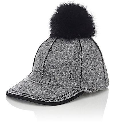 LOLA HATS Fur Pom-Pom Baseball Cap