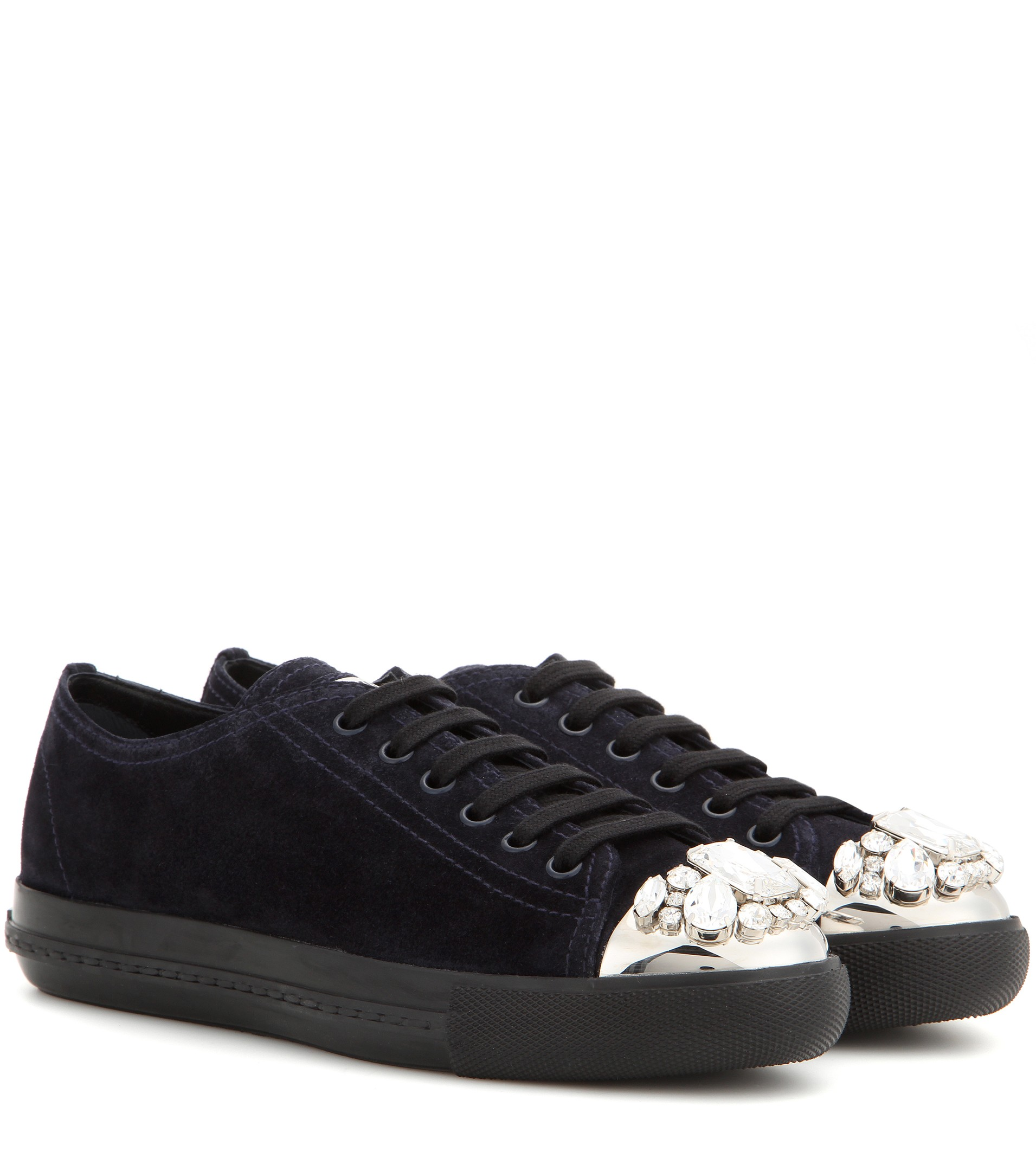 Miu Miu Embellished Suede Sneaker