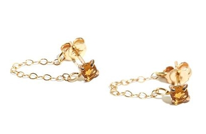 Melissa Joy Manning   Citrine Post Earrings With Chain Wrap, $300, available at   Melissa Joy Manning  .