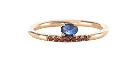 Mociun  Stacked Sapphire Ring, $985, available at   Mociun  .
