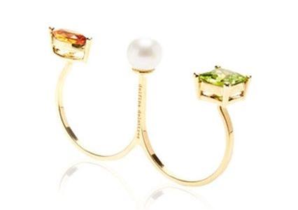 Delfina Delettrez  Peridot and Marquee Triple Ring, $955, available at   Moda Operandi  .