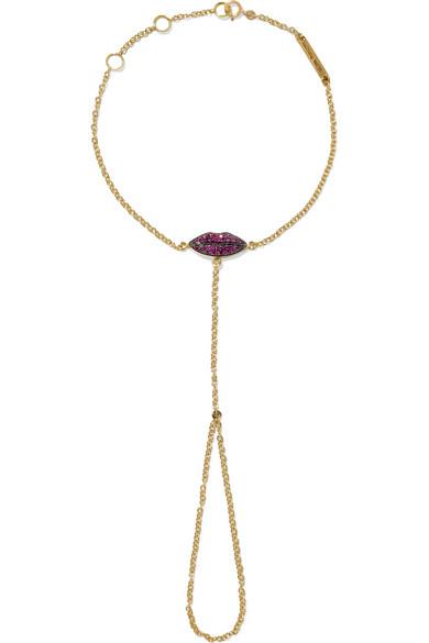 DELFINA DELETTREZ Kiss My Hand 18-karat gold ruby finger bracelet $2,970