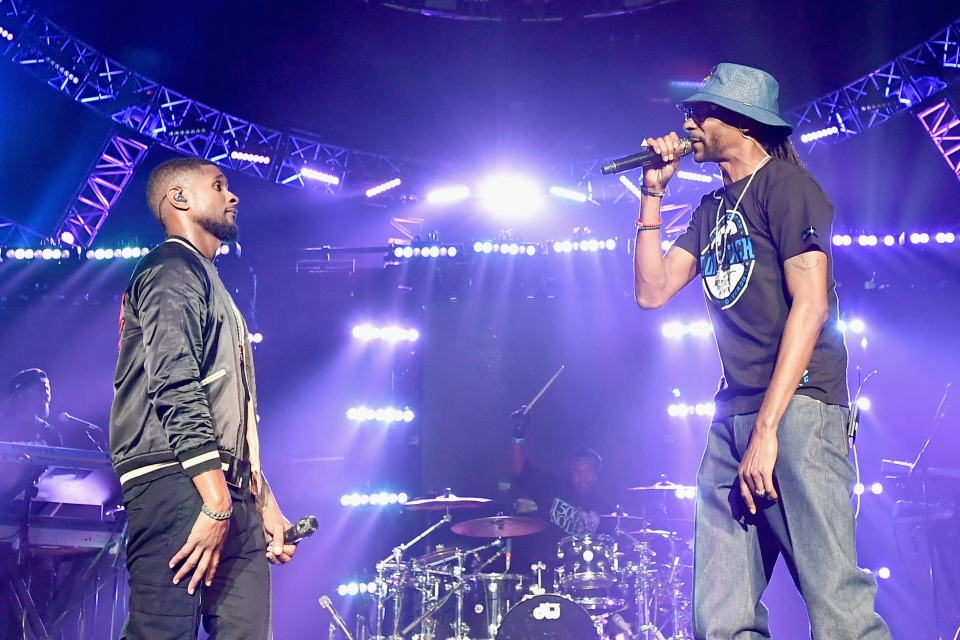 Usher and Snoop Dogg at L.A. Live.