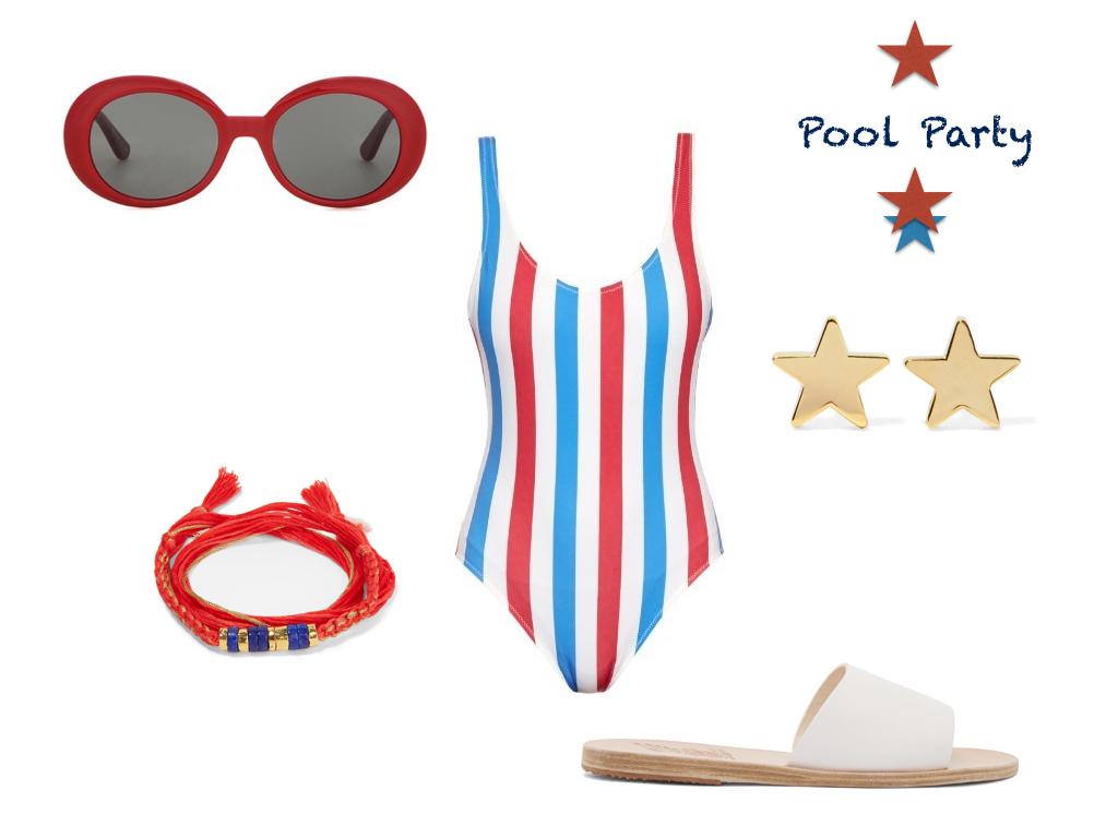 swimsuit,  Solid & Striped  $168 | sunglasses,  Saint Lauren t $175 | earrings,  Jennifer Meyer  $275 | shoes,  Ancient Greek  $94 | bracelet, Takayama $125