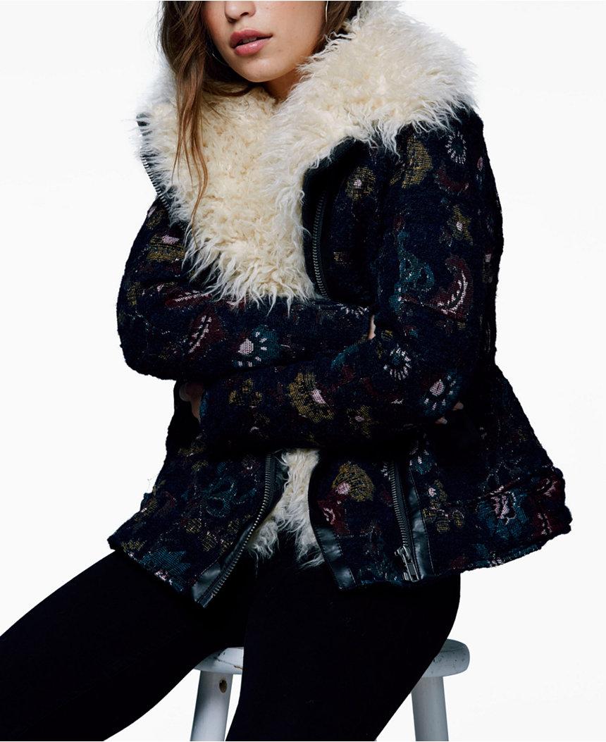 Free People Faux Fur Printed Jacket , $269.99
