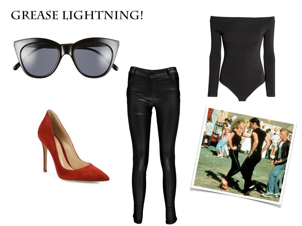 sunglasses,  Le Specs , $59 // shoes,  Gianvito Rossi , $795 // trousers,  boohoo , $40 // bodysuit,  H&M , $17.99