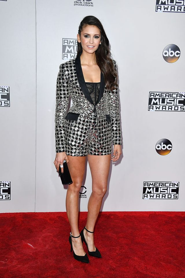 Picture perfect for the AMAs Nina Dobrev sparkles in Zuhair Murad.
