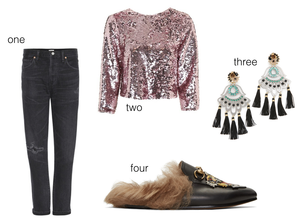 one.  Citizens of Humanity , $253 | two.  Topshop , $125 | three.  Mercedes Salazar , $215 | four.  Gucci , $995