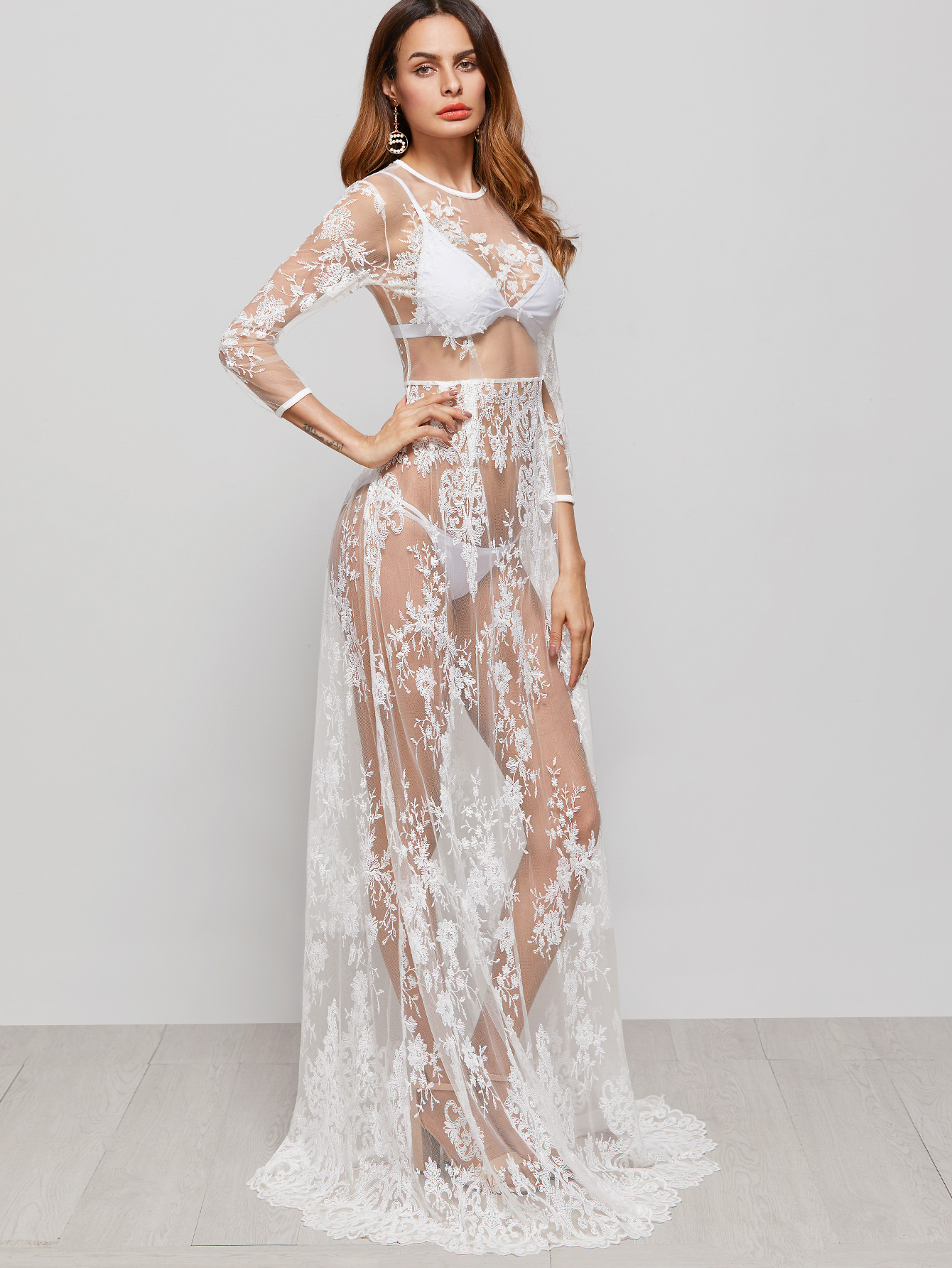 White Flower Embroidered Sheer Maxi Dress-$31.99 us.shein.com