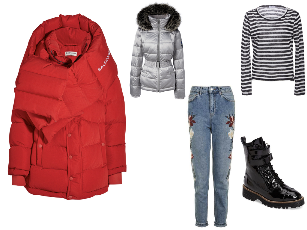 red puffer,  BALENCIAGA , $3,250 | silver puffer,  LAND'S END , $125 | jeans,  TOPSHOP , $110 | top,  FRAME DENIM , $125 | boots,  SHELLY'S LONDON , $170