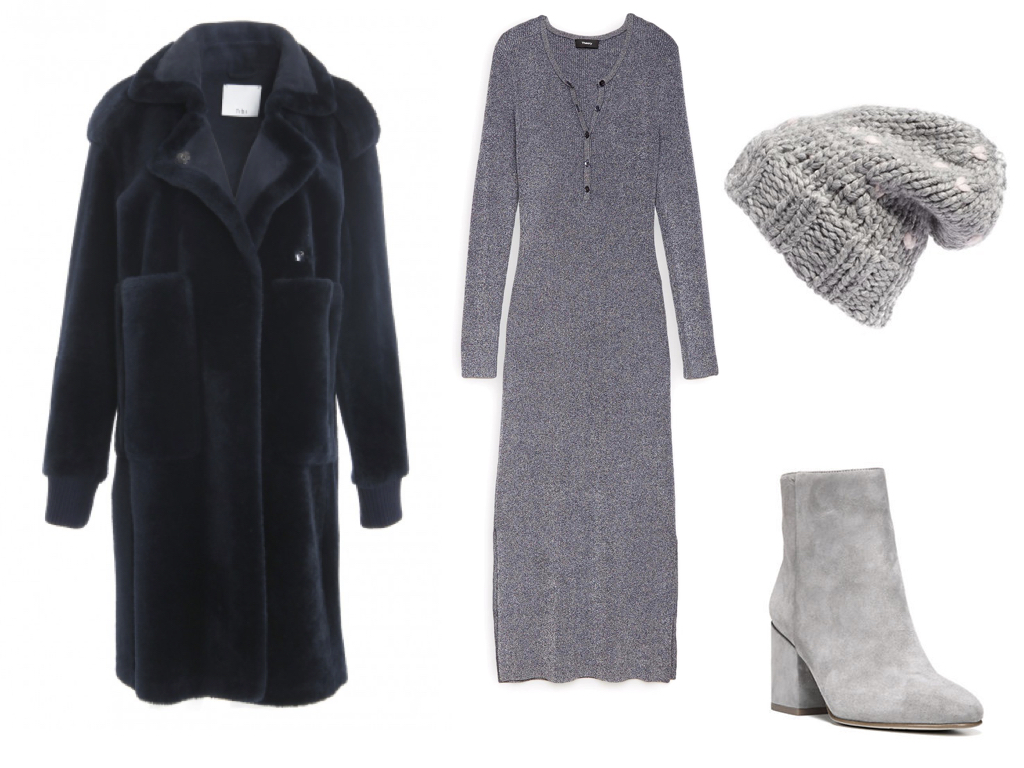 coat,  TIBI , $1,725 | dress,  THEORY , $285 | hat,  REBECCA MINKOFF , (they have built in headphones!) $68 | shoes,  SAM EDELMAN , $120