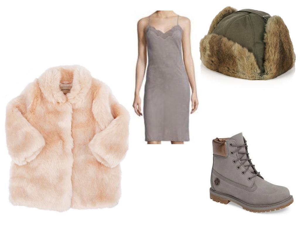 coat,  HUCKLEBONES , $147 | dress,  POLO RALPH LAUREN , $519 | hat,  YVES SALOMON , $86 | boots,  TIMBERLAND , $169