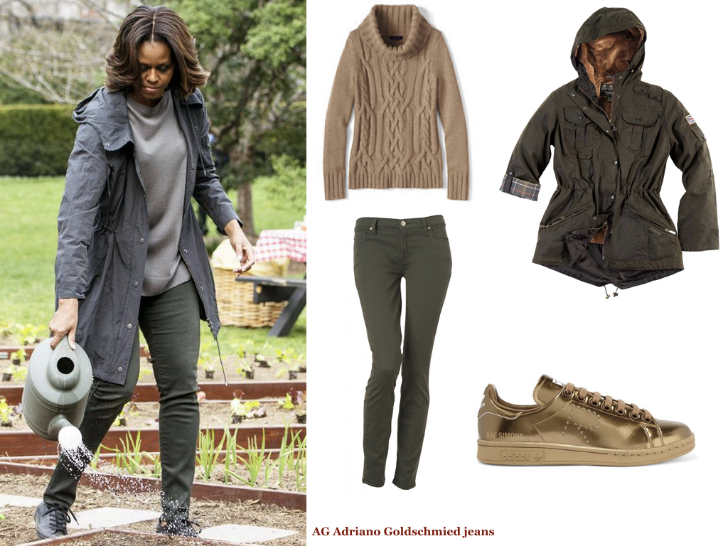 sweater,   LAND'S END  , $50 | coat,   BARBOUR  , $419 | jeans,   7 FOR ALL MANKIND JEANS  , $169 | sneakers,   ADIDAS  , $160