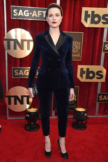 At the Golden Globes, Evan Rachel Wood told us that she would only wear suits this award season. Great to see her looking stunning and making good on that promise in this Altuzarra suit.