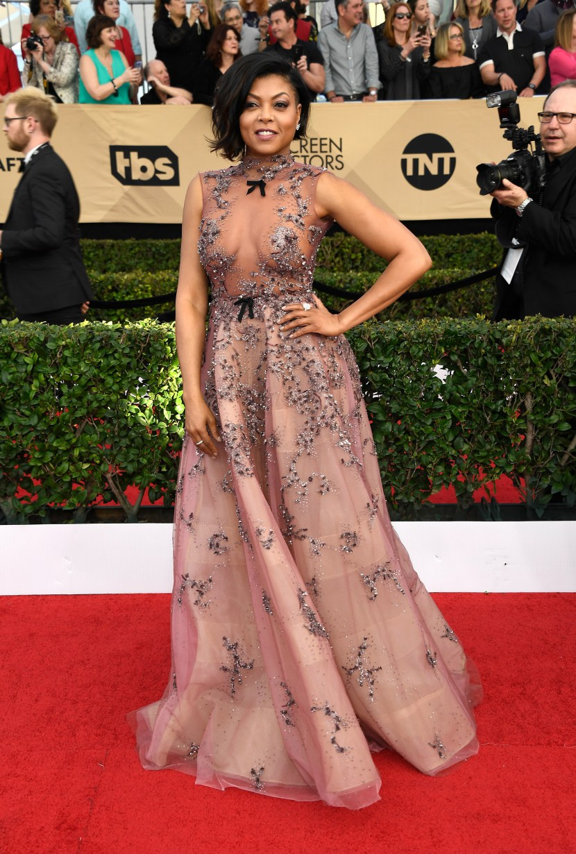 Queen Taraji P. Henson dazzling as always in Reem Acra, much to the delight of all the cookie monsters out there!