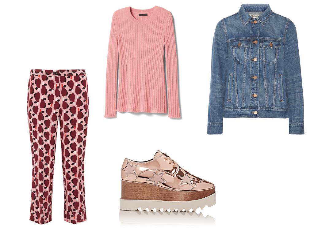 pants,  MIU MIU , $550 | sweater,  BANANA REPUBLIC , $45 | jacket,  MADEWELL , $120 | shoes,  STELLA MCCARTNEY