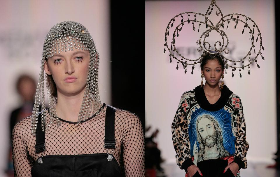 Fishnet is definitely a look along with dramatic bottom eye lashes as Jeremy makes his bold statement