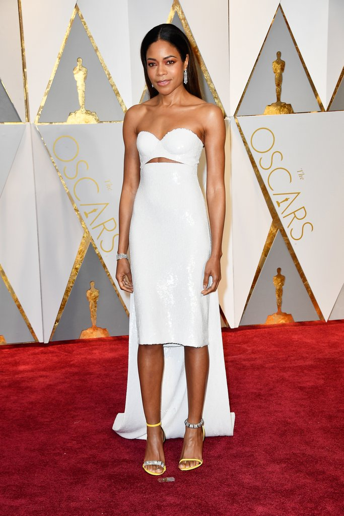 A little unconventional for a best supporting actress nominee, Naomie Harris went the way of sleek and refined in a Calvin Klein custom dress, and Calvin Klein sandals with Bulgari jewels.