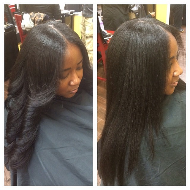 Indique client wearing Bounce Relaxed Straight with minimal leave out