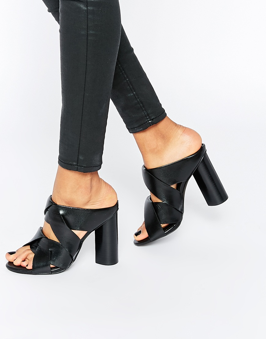 Women's Enso Black Leather Heeled Mule Sandals $241
