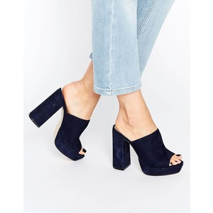 ASOS Office Syrup Navy Suede Platform Heeled Mules $91.00