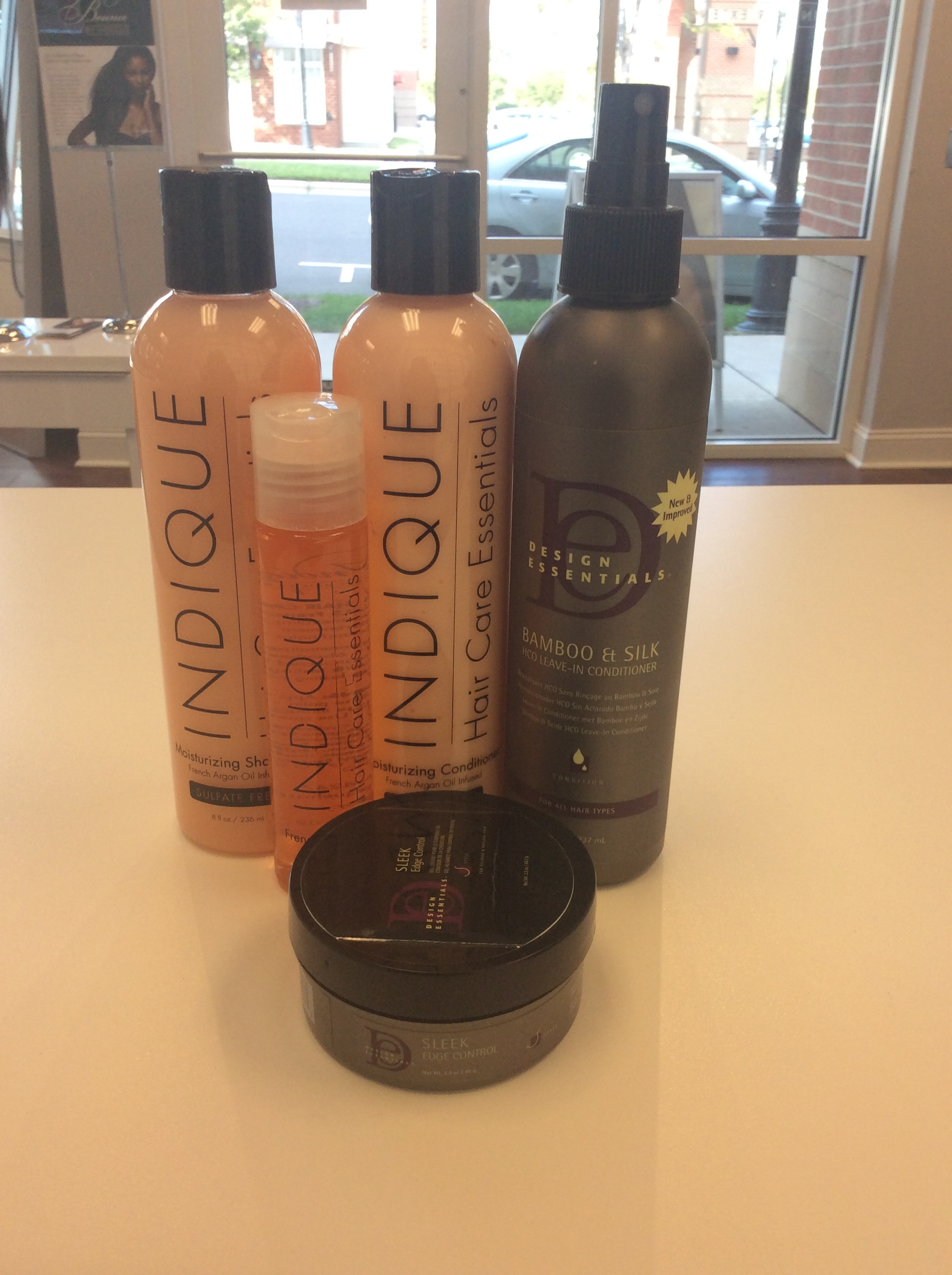 "Great ""Go To"" products to help manage hair leave out with an install. Indique Essentials Shampoo and Conditioner, Design Essentials Leave-in Conditioner, Indique Essentials Argan Oil and Design Essentials. You can find all of these products at www.indiquehair.com"