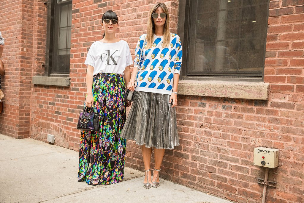 Flowery Skirts, Over sized Top, and Sunglasses