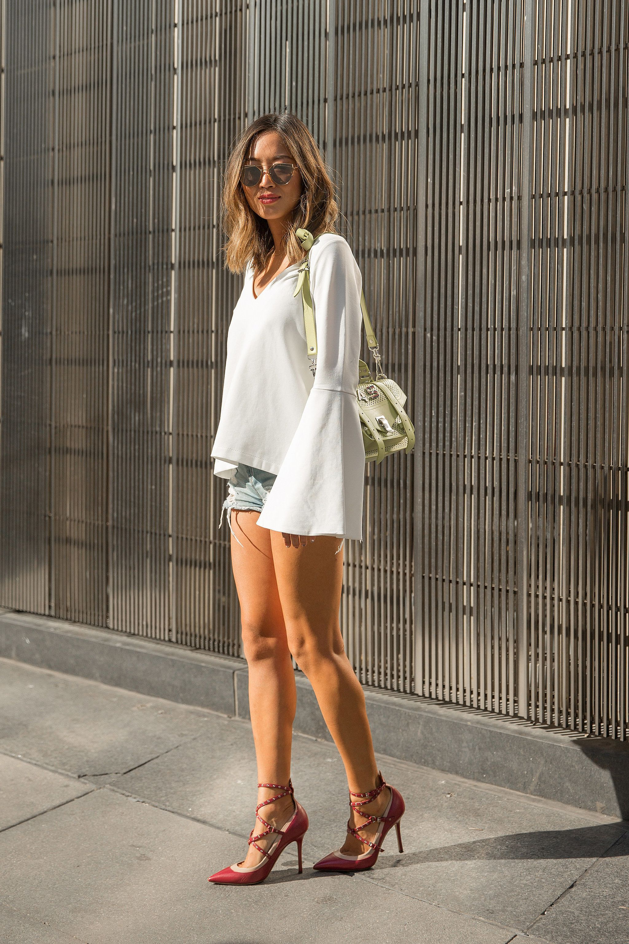 Bell-Sleeved Blouse and Cutoffs