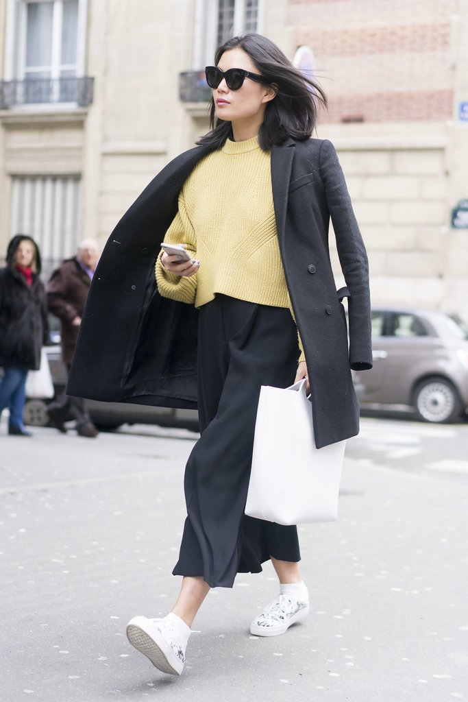 Culottes, a Sweater, and Low-Tops