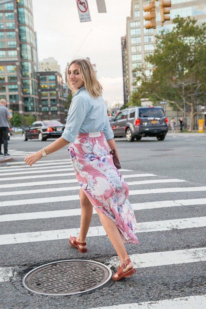Floral-Printed Skirt and Slingbacks
