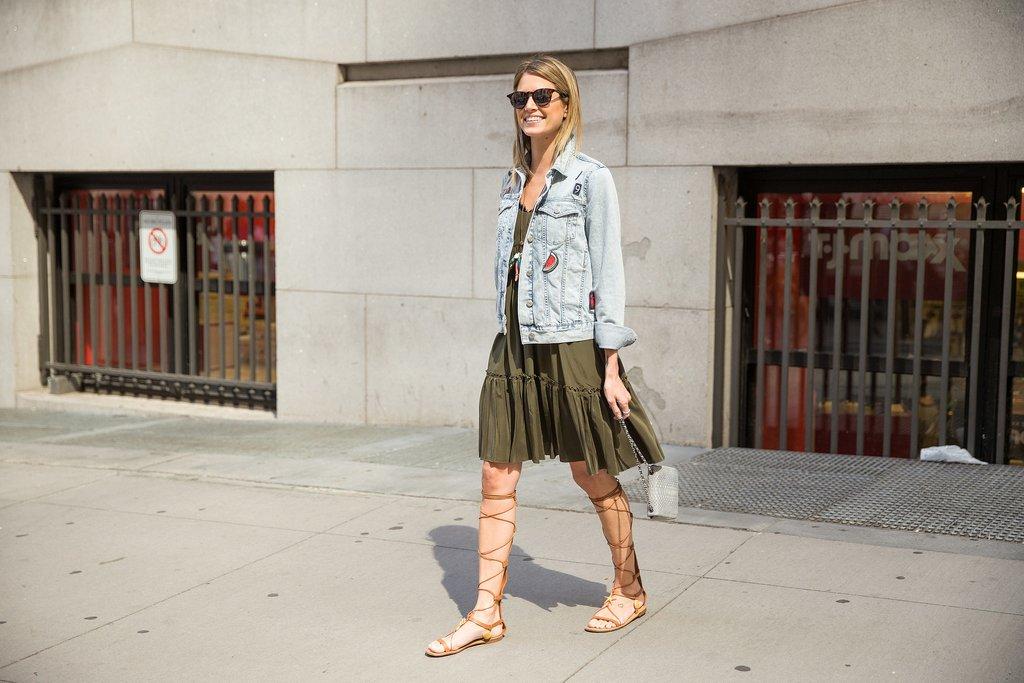 Gladiator Sandals, Tunics, and Denim Jacket