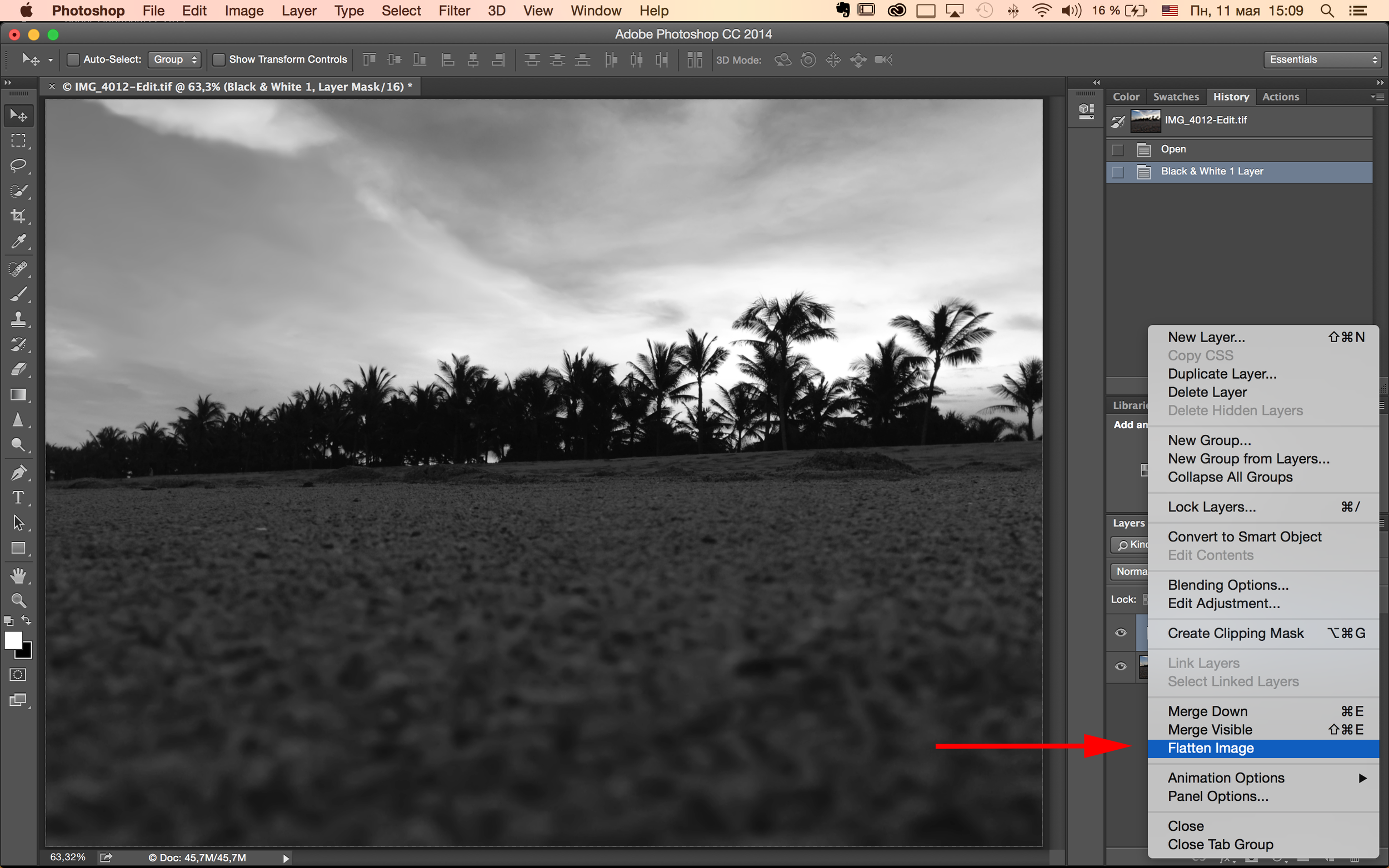 Открытка годовщине, как сделать черно белую картинку в фотошопе