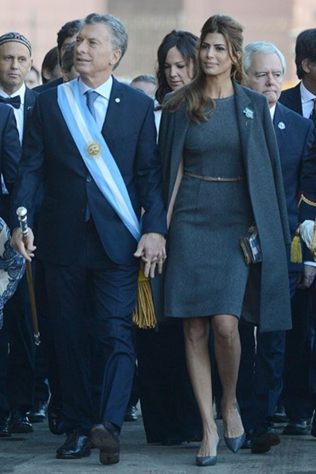 María Juliana Awada Baker is an Argentine businesswoman and philanthropist of Lebanese and Syrian descent. She is the current First Lady of Argentina, married to the 53rd President of Argentina, Mauricio Macri. She is the first First Lady of Argentina to receive the distinction of the Knight Grand Cross of the Order of Isabella the Catholic in 70 years and the second in history after Eva Perón in 1947.