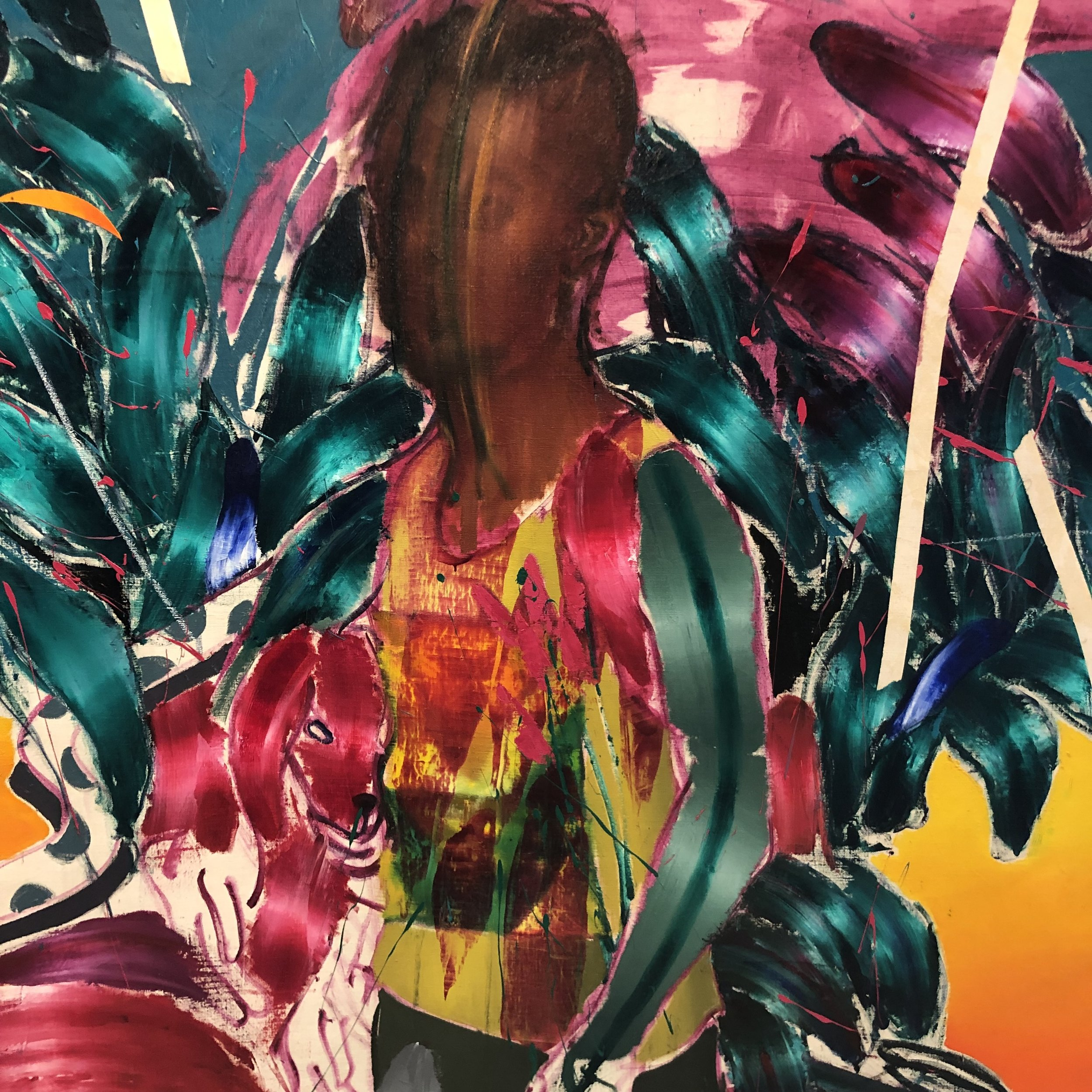 'Kid I (Self Portrait)' , 61cm x 137cm x 152cm (Diptych) oil, oil stick on canvas 2017, Chibuike Uzoma