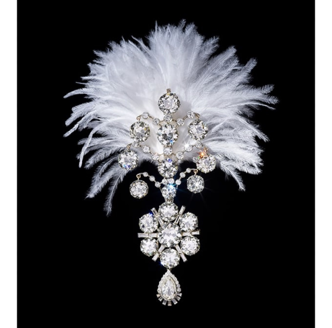 Belle Époque white gold and diamond encrusted Jigha.  Photo source: christies.com