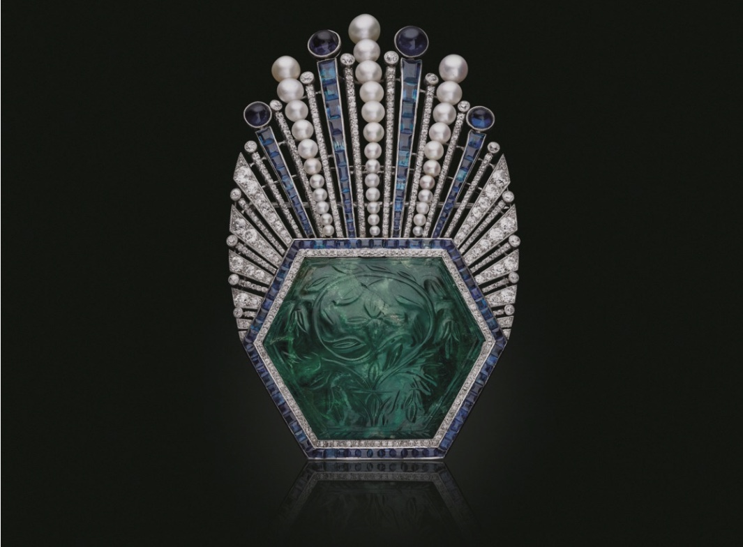 Art deco carved emerald, sapphire, diamond and pearl aigrette.  Photo source: christies.com