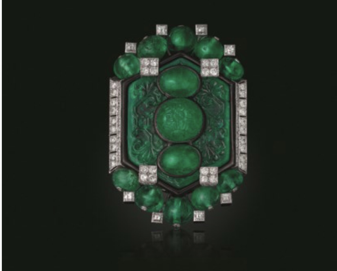 Art deco emerald, diamond and enamel brooch.  Photo source: christies.com