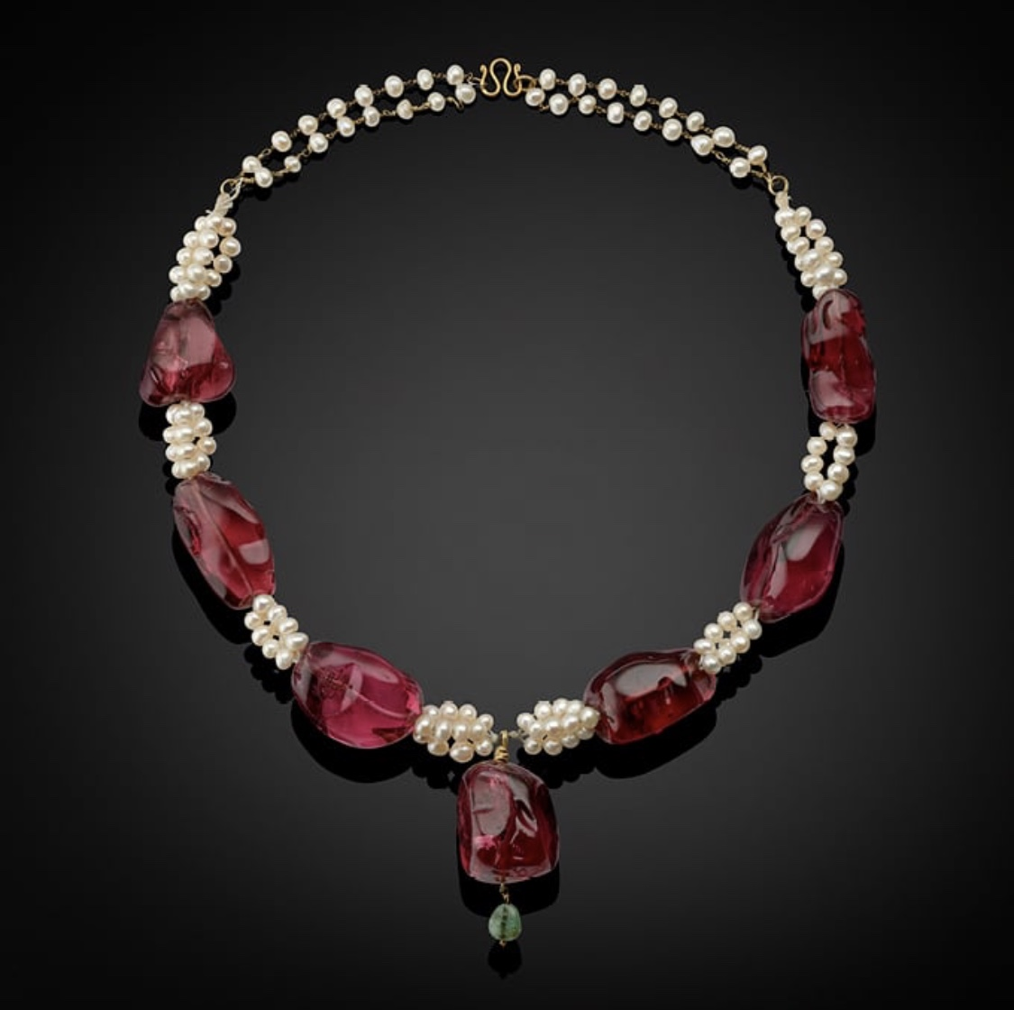 Antique imperial spinel, pearl and emerald necklace.  Photo source: christies.com